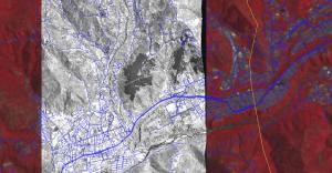 Fig 3: Quickbird 0.6 x 0.6 metros superpuesta sobre imagen de ASTER